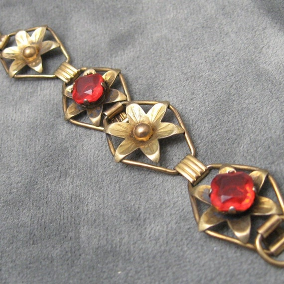 Sterling Bracelet Floral Red Gold Filled PR ST CO B2425