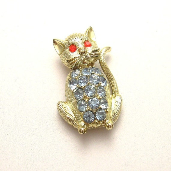 Vintage Blue Rhinestone Kitty Cat Pin Jewelry P3023