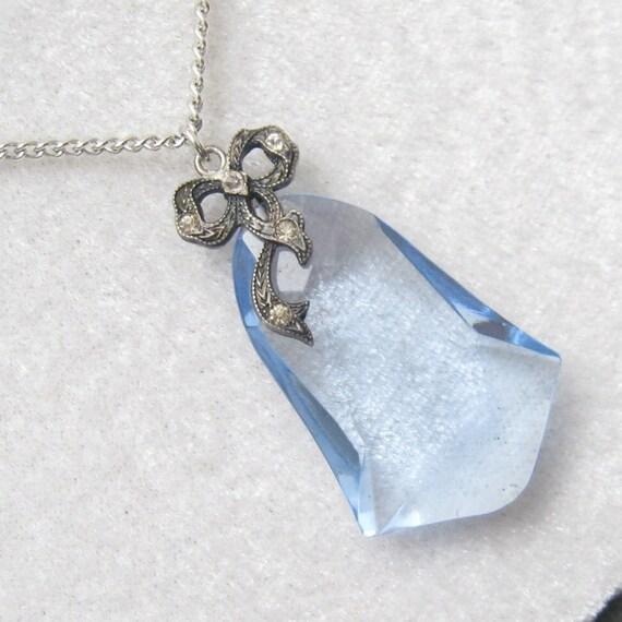 RESERVED Large Blue Crystal Pendant Rhinestone Bow  N3185