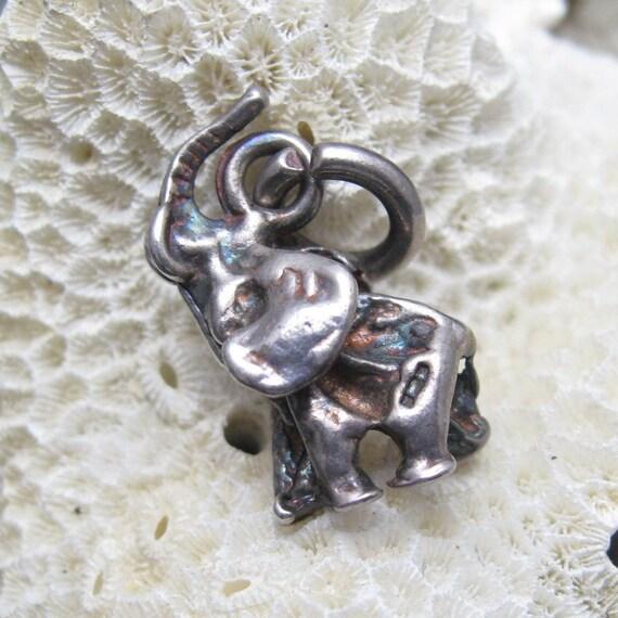 Vintage Sterling Charm Elephant Happy C3395