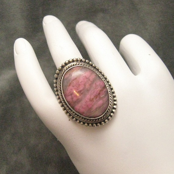 Large Sterling Ring Pink Agate R3596