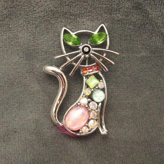Vintage Rhinestone Cat Brooch Pin Jewelry P3654