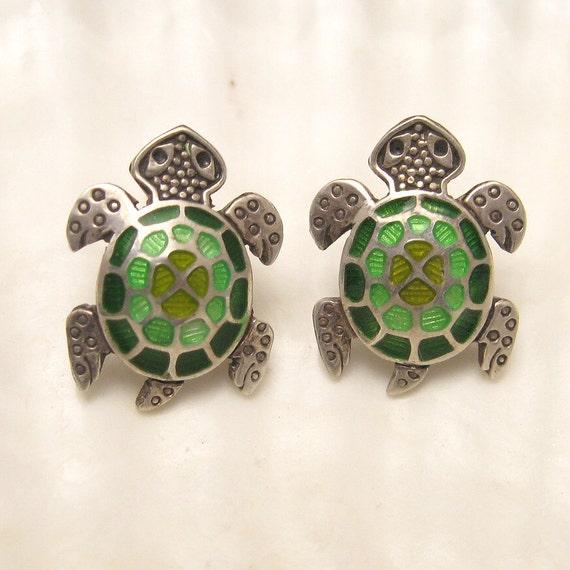 RESERVED Sterling Turtle Earrings Guilloche Enamel E3805