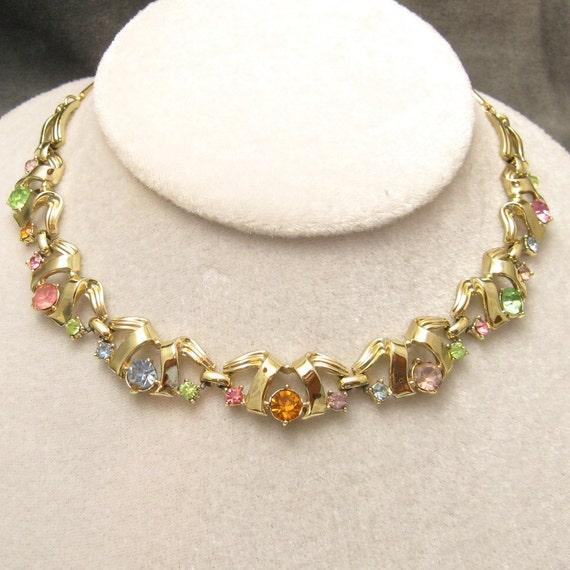 Pastel Rhinestone Necklace Choker Vintage N3875