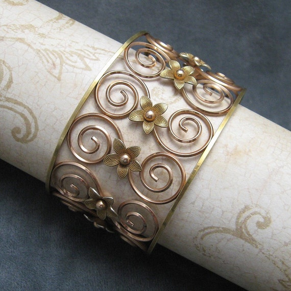Wide Cuff Bracelet Rose Gold Filled Wire Krementz B3997