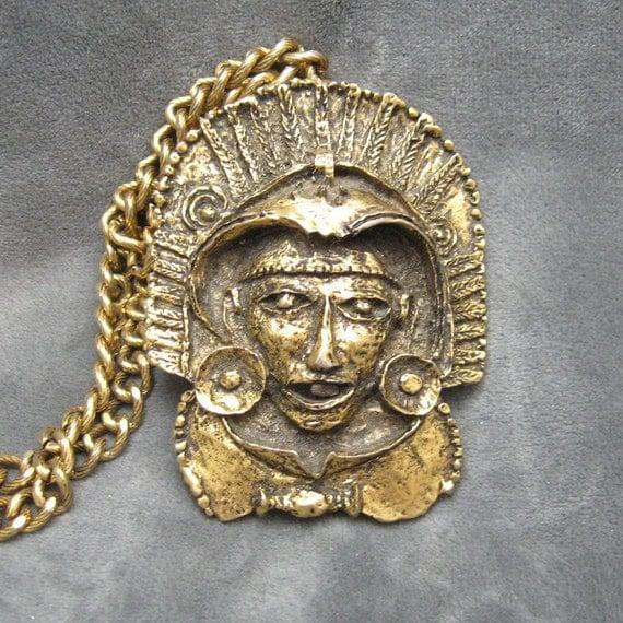 Vintage Necklace Chunky Primitive Mayan N4002