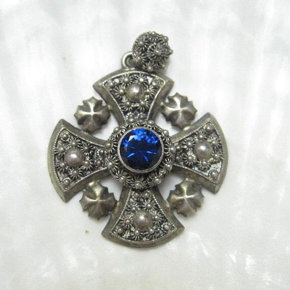 Sterling Jerusalem Cross Cannetille Blue Stone C4220