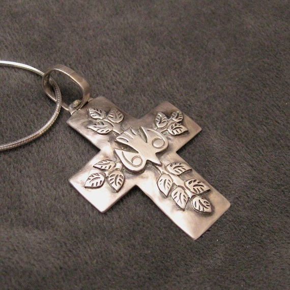 RESERVED Sterling Cross Pendant Dove Jeep Collins N4261