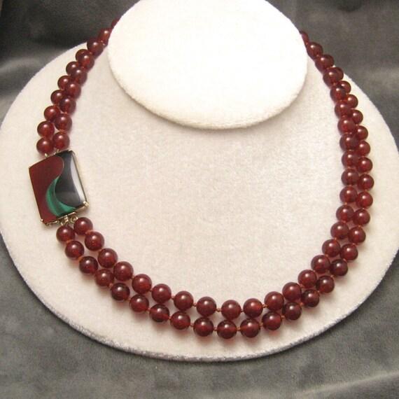 Vintage Necklace Onyx Carnelian Malachite Sterling N4284