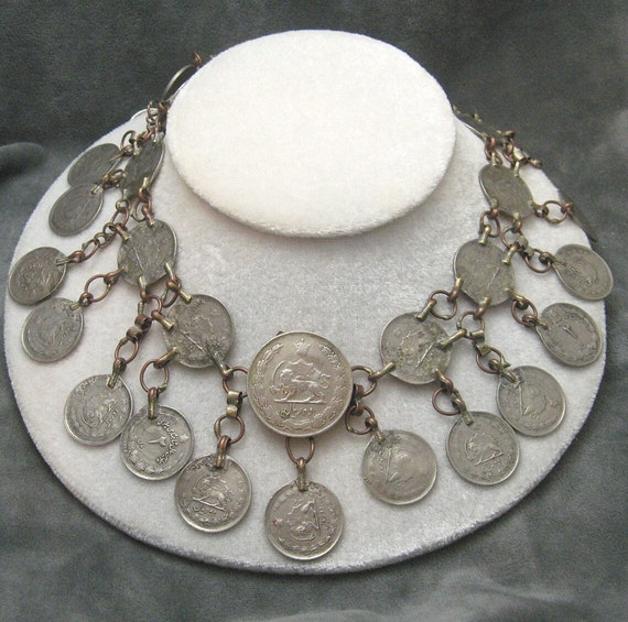 Persian Coin Bib Necklace Primitive Tribal N4574