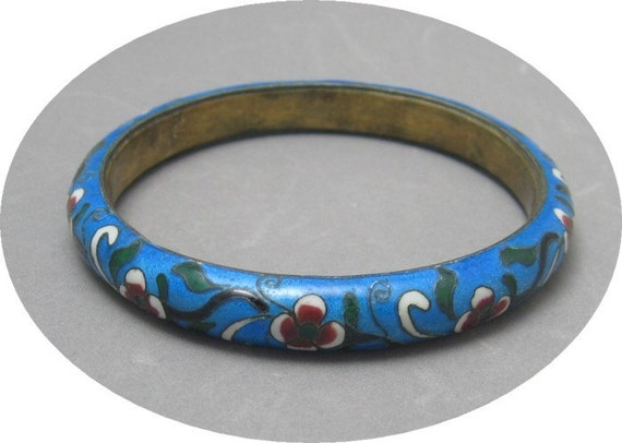 Vintage Cloisonne Bangle Bracelet Wide Turquoise Blue B999