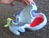 Blue Hippo Trinket Box w\/ Bird Friend