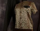 SALE WAS 65 Vintage Leopard Mandarin Lounge Wear