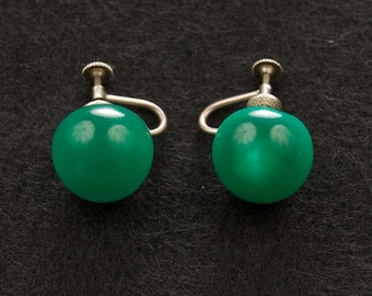 Sterling Silver Screw Back Button Earrings