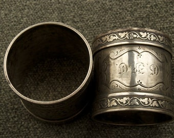 Antique Pair of Silver Monogrammed Napkin Rings SALE was 400