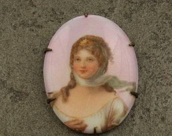 SALE WAS 50 Portrait of a Lady - Antique Porcelain Pin