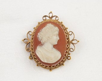 SALE  - was 675 - Spectacular Stone Cameo Brooch