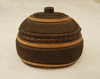 Vintage Carved Oval Wooden Box