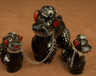 Vintage Black Poodle Family Figurines