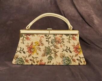 SALE WAS 40 Vintage Floral Tapestry Frame Bag