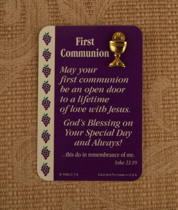 First Communion Lapel Pin on Original Card