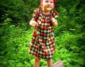 Hounds tooth Peasant Dress, bohemian dress, BOHO, toddler dress, infant dress, Spring dress, Easter, short sleeves,sizes Newborn through 6X