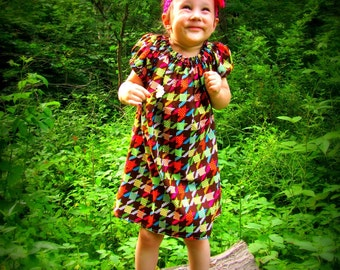 Girls peasant dress, girls dress, little girls peasant dress, short sleeves, vintage dress, bohemian dress, Thanksgiving dress, Christmas