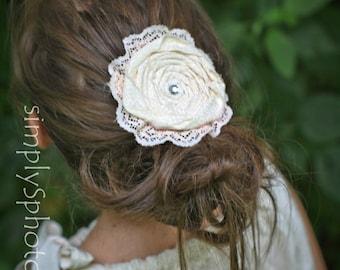 Rose Hair Clip - Boho hair accessories - Girl's hair clip - flower girl hair clip - flower hair accessories - ivory hair clip