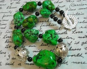 The Green Fairy necklace - magnesite, Hill Tribe silver, and black onyx