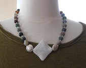 Earth's Hues necklace - white, multi-colored jade, Hill Tribe silver, green, brown, mauve