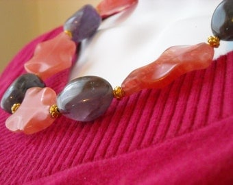 A Glass of Blush necklace - pink glass, purple amethyst, vermeil, gold