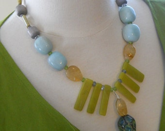 Strut Your Stuff necklace- GlassPeace bead, peridot, quartz, citrine, amazonite, etc.