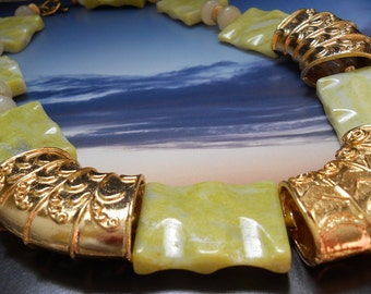 Calm Before the Storm necklace - gold, chartreuse, jasper, calcite
