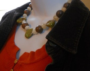 Queen of the Forest necklace - calcite, porcelain, tigerskin jasper, green, brown, white