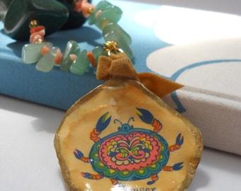 Crabby Chic necklace - vintage Cancer zodiac pendant, jade, green aventurine, coral