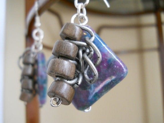 Livin' on the Edge earrings - ruby apatite, wood, chain, purple, teal, brown, grey
