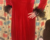 SALE Plus size red velvet and feather ollar and sleeves dress 2x 3x  4x stretchy