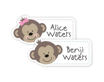 fancy die cut monkeys personalized dishwasher safe labels, two sheets, 20 labels