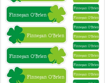 shamrocks personalized dishwasher safe labels, set of 36