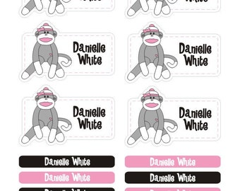 sock monkey girl personalized dishwasher safe labels, 36 labels