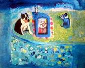 Boston Terrier Island - original painting by e. tobin eckian