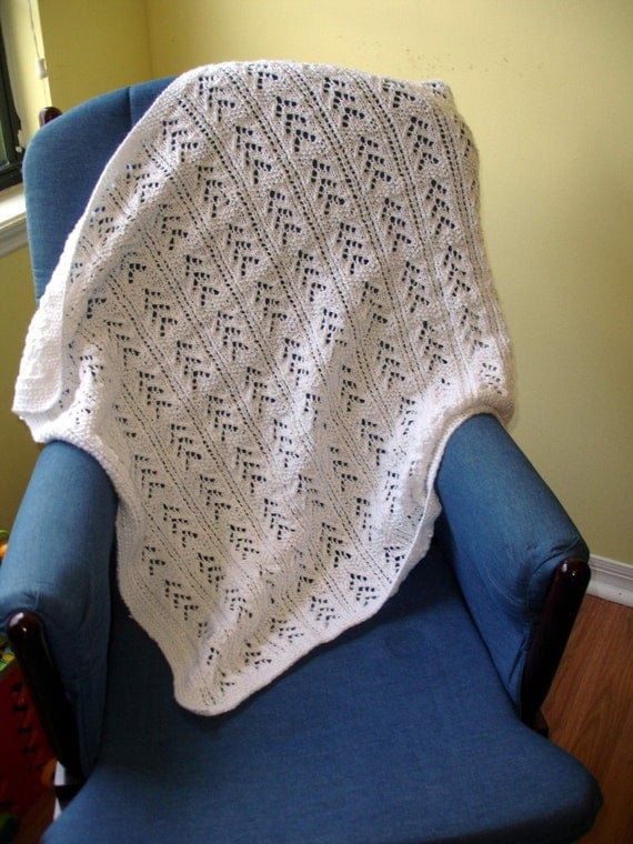 Knit4aCure White Baby Blanket