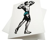 Bodybuilder -- Recycled hand printed card