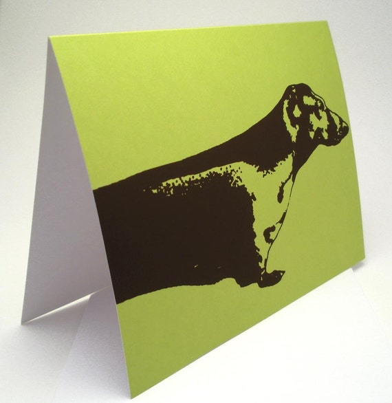 Dachshund -- Blank Lime Green Card