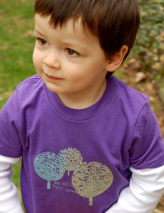We all fall down - trees on a purple kids' tee (size 4)