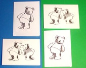 Set of 4 Bear Note Cards