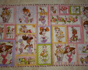 OOP - Loralie Harris Hey Cupcake Lady Fairies Cotton Fabric Panel 25 Blocks per Panel