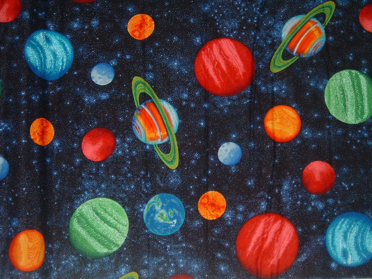 Planet solar system planets earth cotton fabric by the yard by for Fabric planets solar system