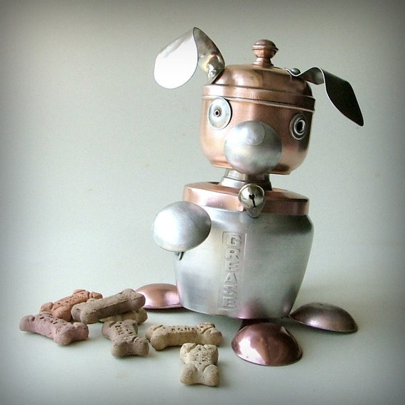 robot dog recycled art sculpture treat container