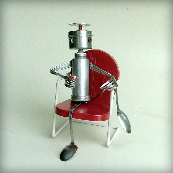 Robot Sculpture - Just Relax - Upcycled Art Sculpture Leuckit